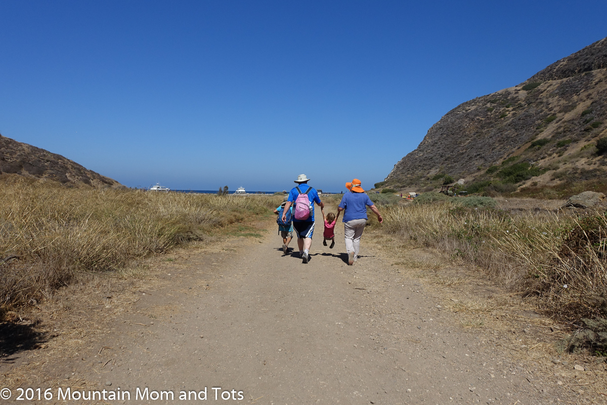 Kids hiking with grandparents
