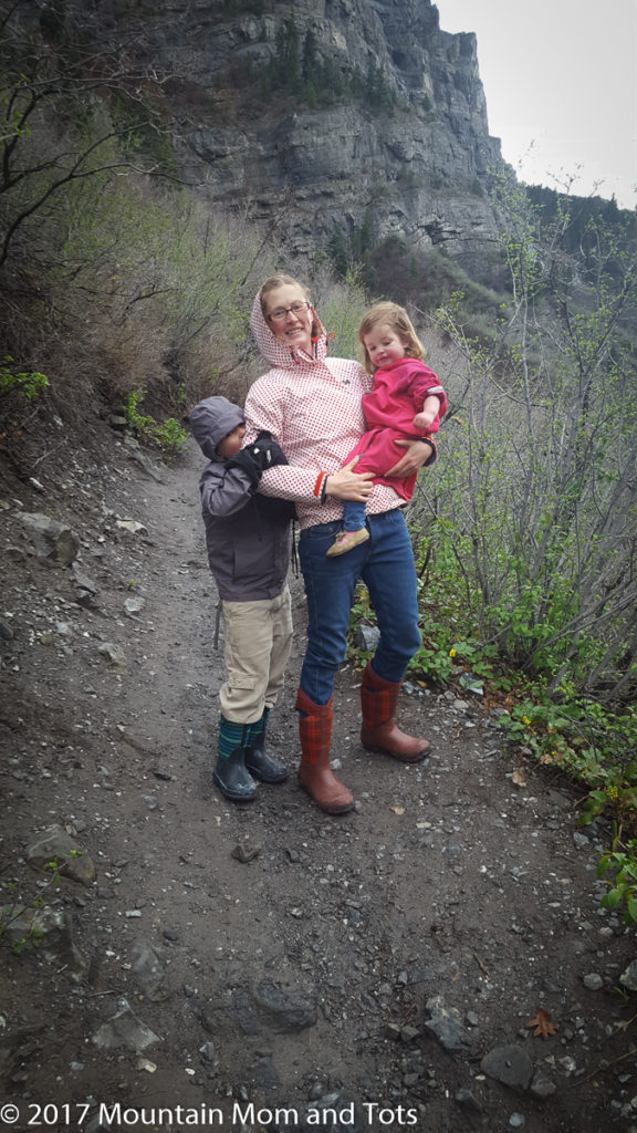 Mountain Mom and tots in the rain